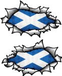 Small handed Oval Ripped Pair Metal Design With Scotland Scottish Flag Vinyl Car Sticker 85x50mm Ea.